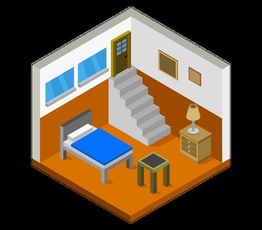 Hostel room Illustration