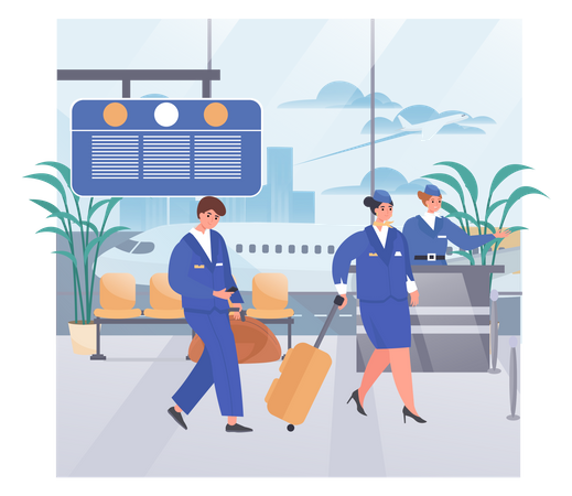 Hostess Helping Tourists In Airport Illustration
