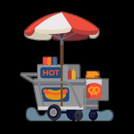 Hot dog Street food cart Illustration