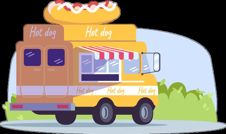 Hot dog truck Illustration