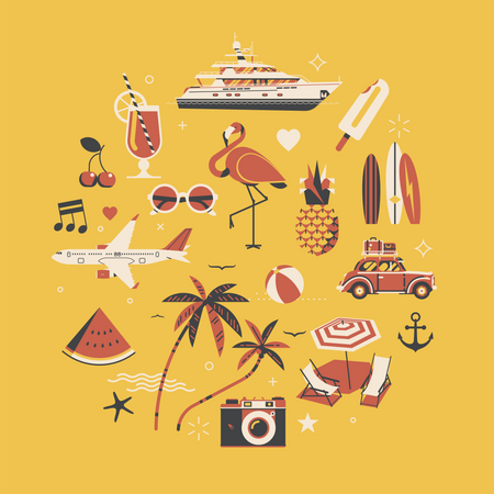 Hot Summer with vacation, travel and leisure themed decorative items Illustration