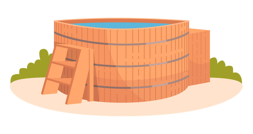 Hot tub for relaxation and lounge Illustration