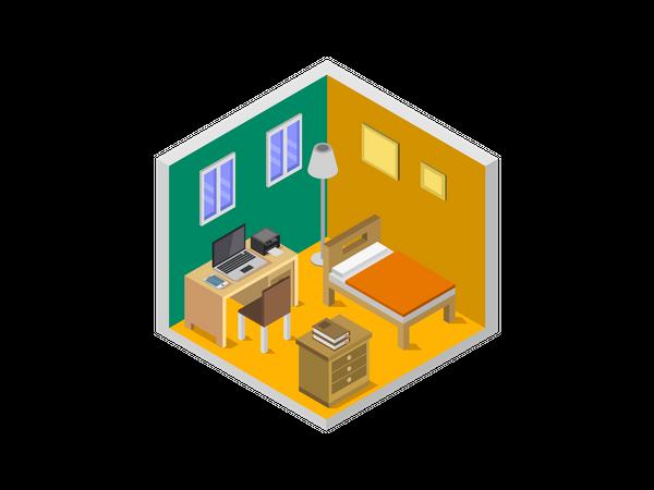 Hotel bedroom Illustration
