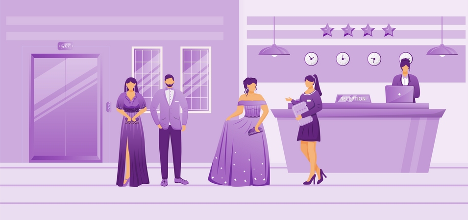 Hotel guests in waiting area Illustration