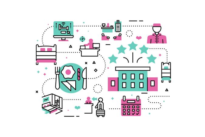 Hotel Service & Facilities line icons illustration Illustration