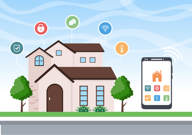 House appliances controlled through smart phone using application Illustration