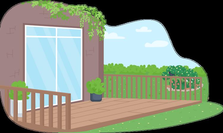 House back yard patio Illustration