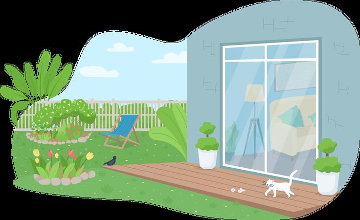 House backyard patio Illustration