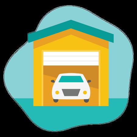 House Car Garage Illustration