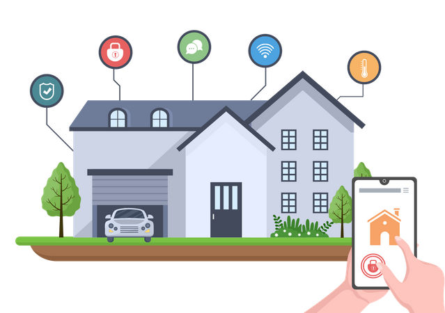 House connected to internet through smart technology Illustration