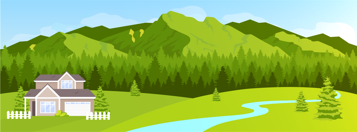 House in mountains Illustration
