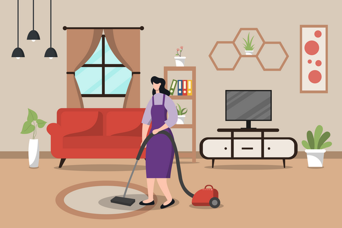 House maid cleaning the hall Illustration