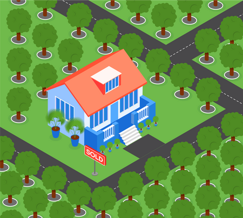 House Surrounded by Trees Illustration