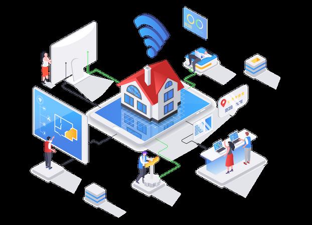House system automatization Illustration