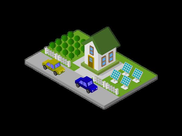 House wit solar panel Illustration