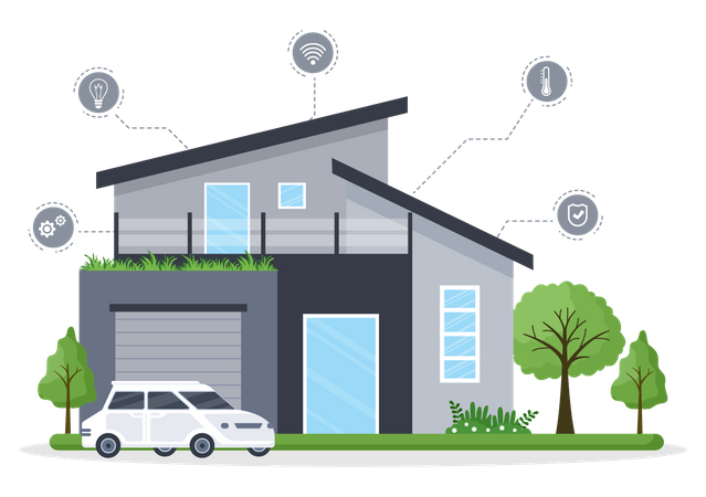 House with smart technologies Illustration