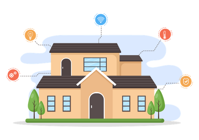House with smart technology Illustration