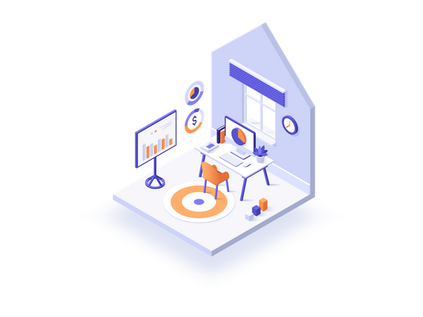 House Workplace Illustration