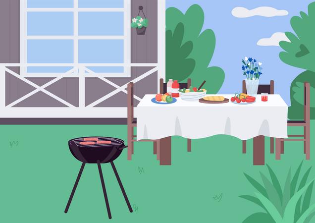 House yard BBQ Illustration