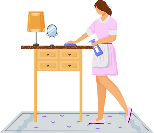 Housekeeping staff cleaning table Illustration