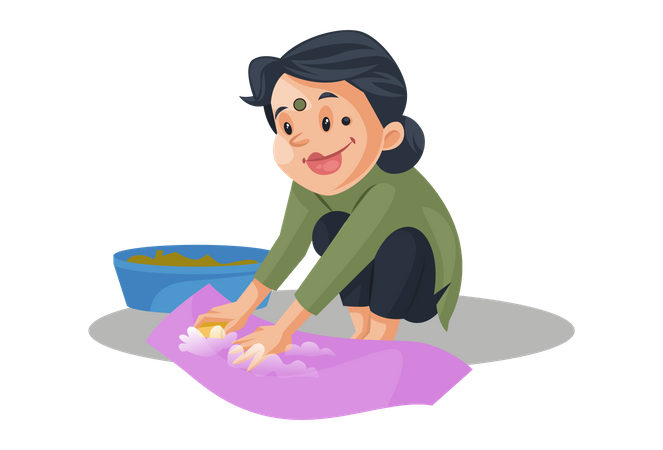 Housemaid is cleaning cloths Illustration