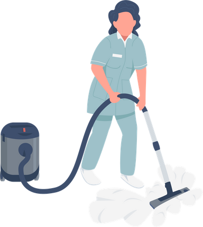 Housemaid with vacuum cleaner Illustration