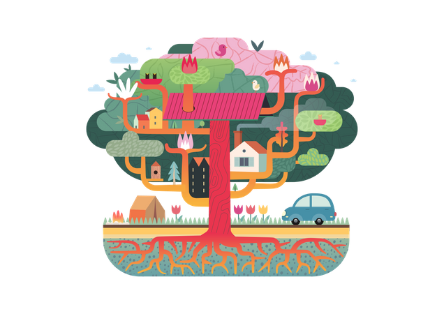 Houses connected with tree trunk Illustration