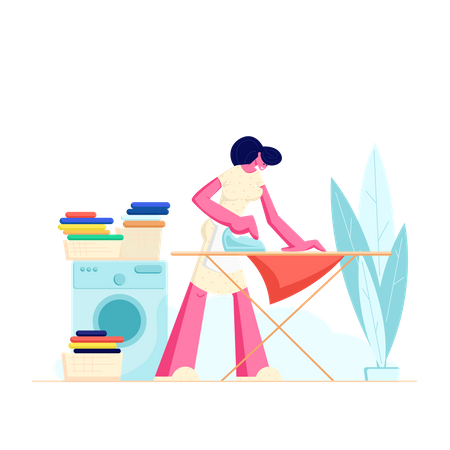 Housewife Ironing clothes Illustration