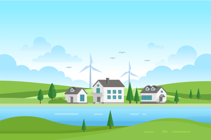 Housing Estate With Windmills By The River - Modern Vector Illustration Illustration