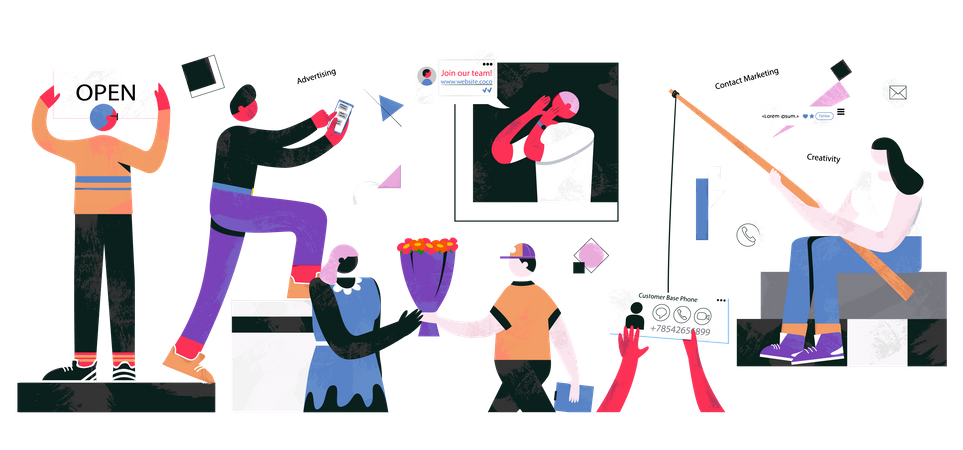 How to Start and Engage People on Website Illustration