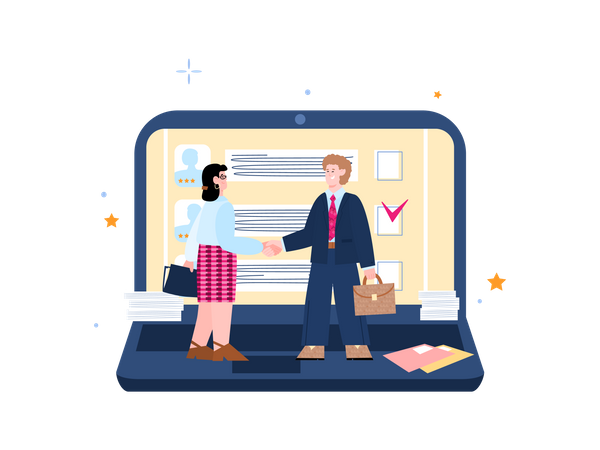 HR manager hand shaking with female candidate Illustration