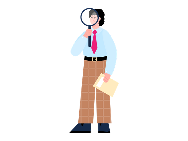 HR Manager is searching and hiring new employees Illustration
