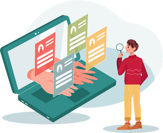 HR Manager Searching best employee profiles for hiring Illustration