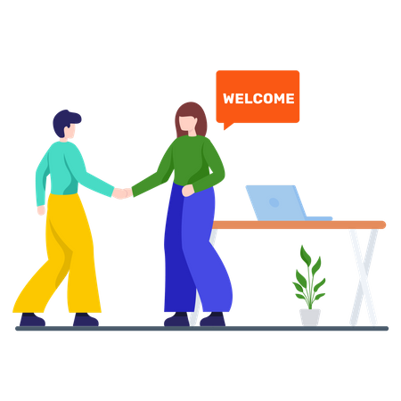 HR manager Welcoming New Employee Illustration