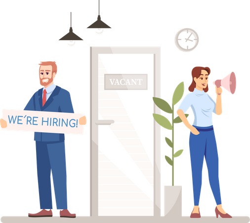HR managers are hiring for new job applicants Illustration
