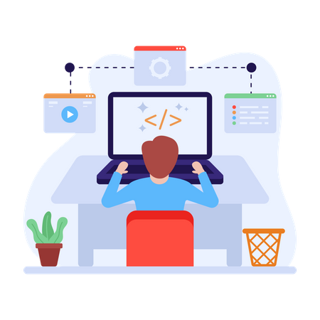 HTML programmer doing web developing Illustration