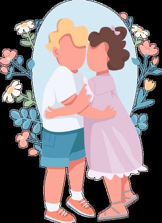 Hugging kids Illustration