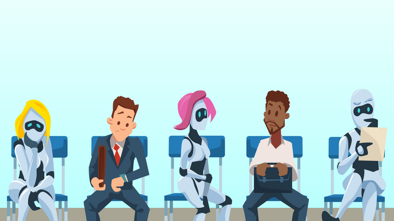 Human and robots sitting in queue Illustration
