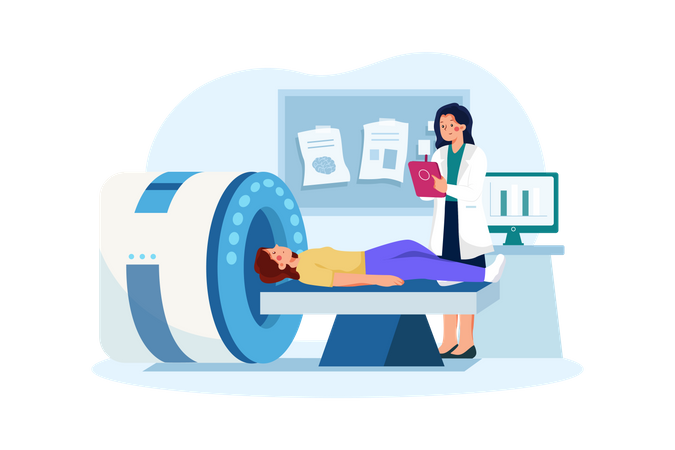 Human Body scanning in mri machine Illustration