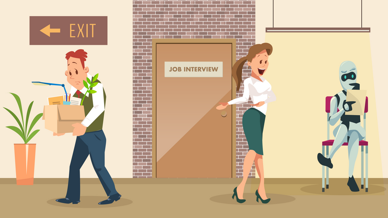 Human employee got fired and robot selected for job Illustration