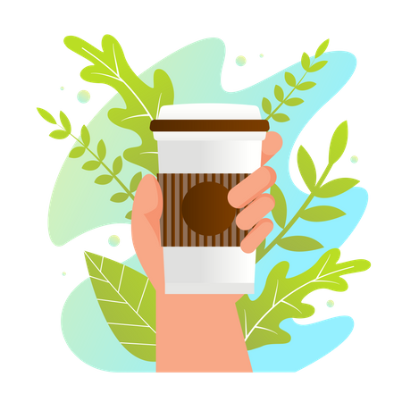 Human Hand Holding Plastic Cup with Hot Beverage Illustration