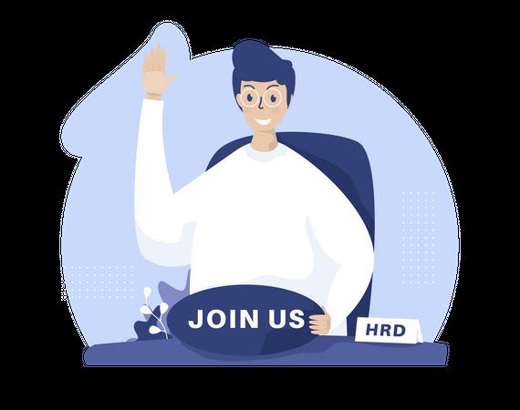 Human resources open recruitment Illustration