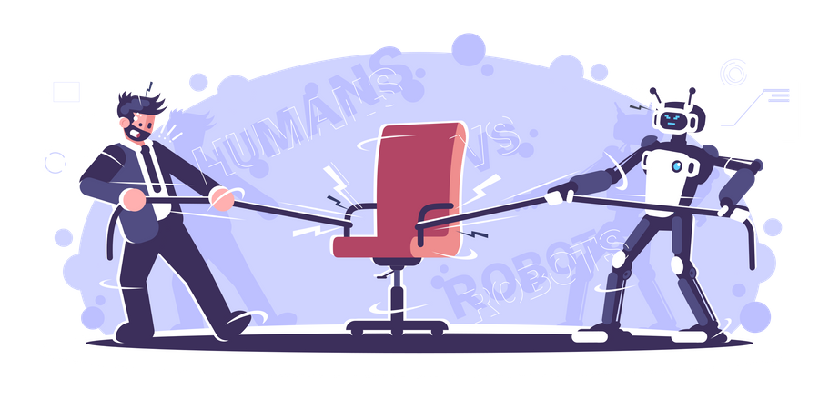 Human Vs Robot Worker Fighting Over Chair Illustration