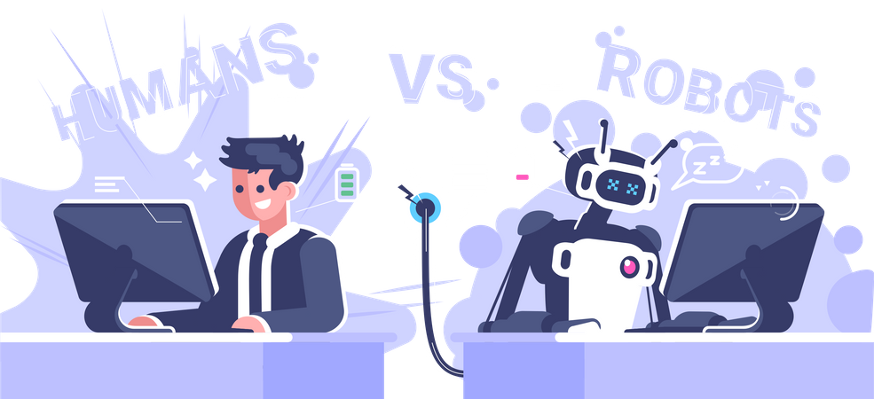 Human Worker With Low Battery Robot Working In Office Illustration