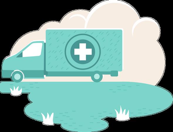 Humanitarian aid van Illustration