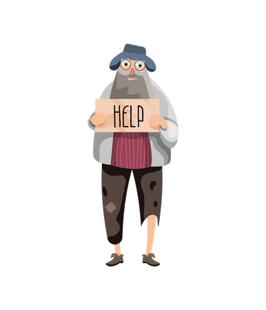 Hungry Beggar holding help board Illustration