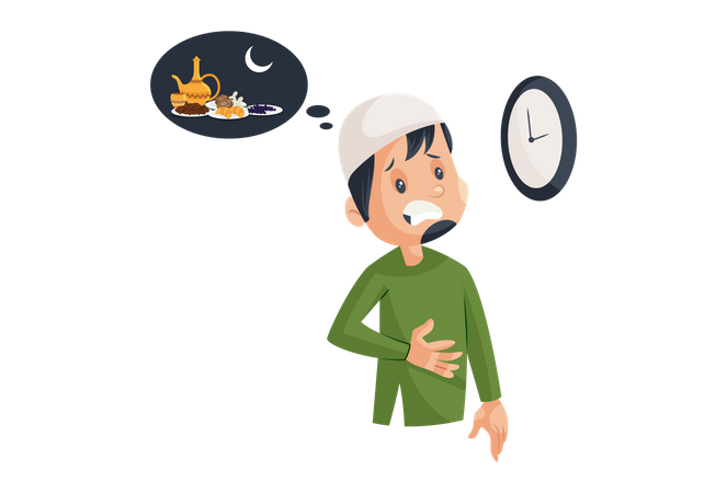 Hungry Muslim Man thinking of dinner time Illustration