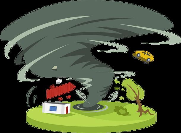 Hurricane in countryside Illustration
