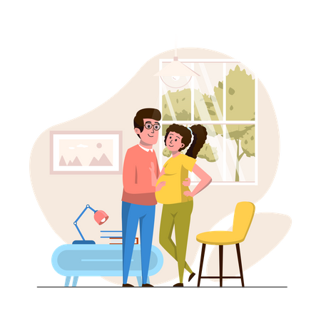 Husband and pregnant wife Illustration