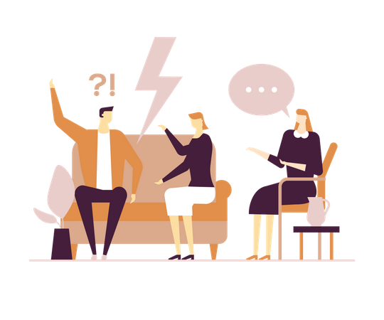 Husband and wife arguing Illustration